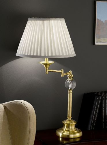 Franklite TL901 Satin Brass Table Lamp (Class 2 Double Insulated)